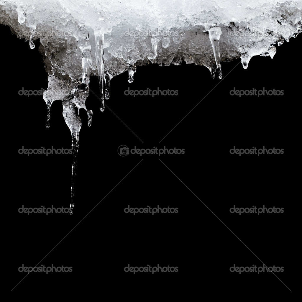Melting ice hanging from the roof