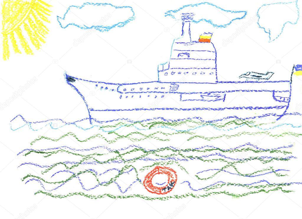 Detska Kresba S Velke Bitevni Lod Stock Fotografie C Elightshow