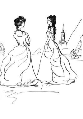 Girls in long dress
