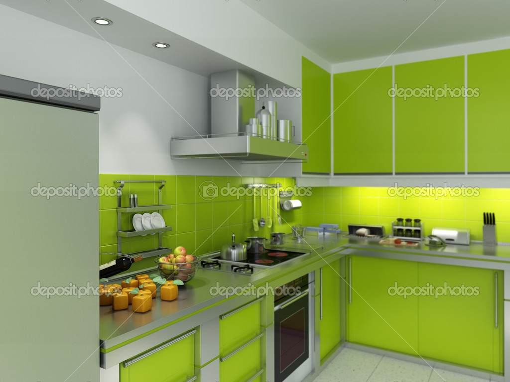 Green Kitchen Stock Photo Franckito 2155860