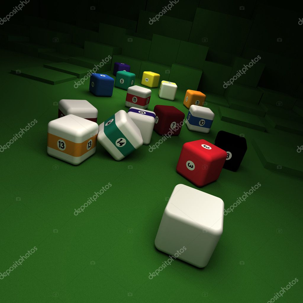 Cubic billiard balls against a green felt table