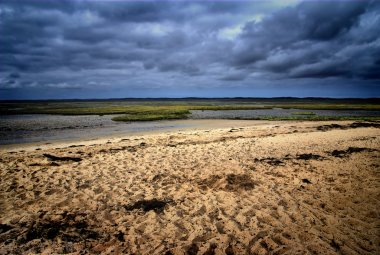 Storm in deserted beach
