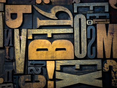 Background of vintage wooden letters
