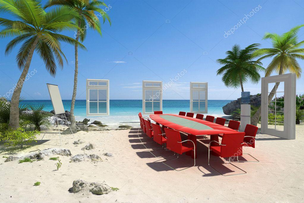 Board meeting at the beach