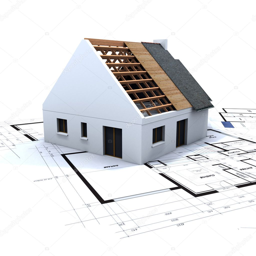 House in construction and blueprints u2014 Stock
