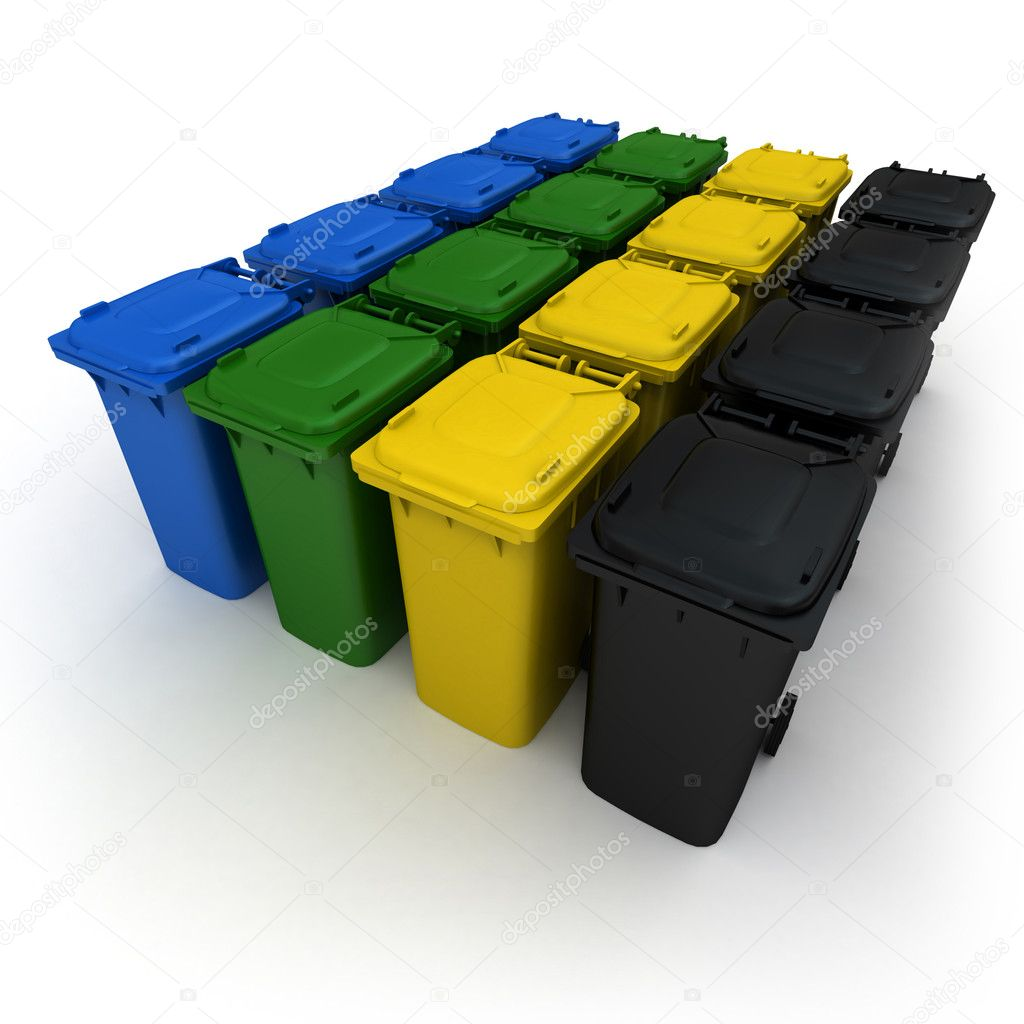 3D rendering of a battery of garbage bins in different colors