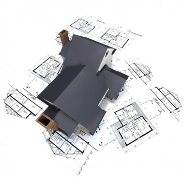 House on top of architect blueprints