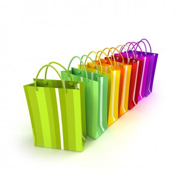 Brightly colored shopping bags in a row