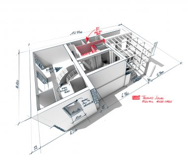Scribbled house architecture rendering