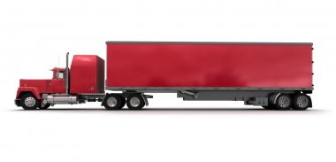 Side view of a big red trailer truck