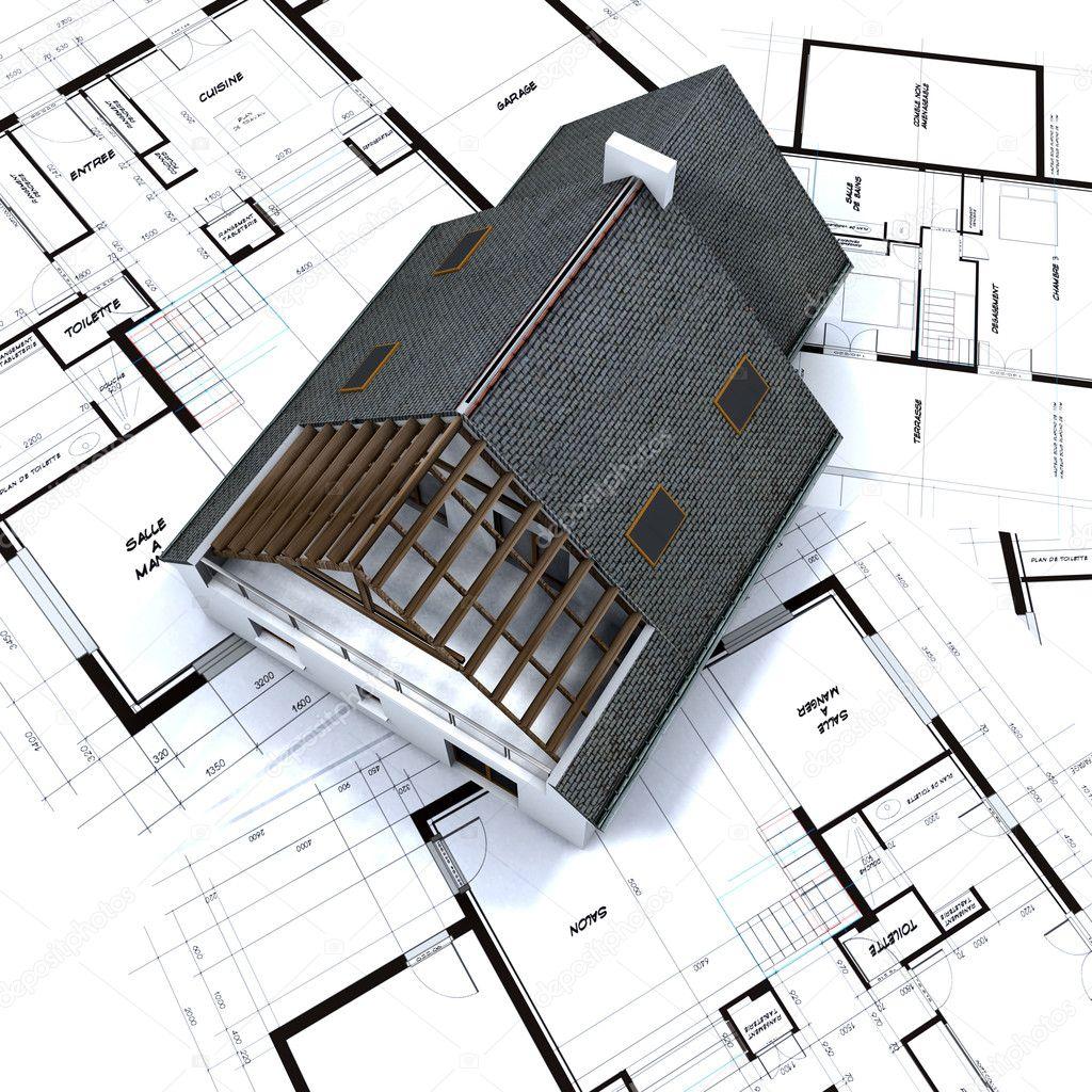 Einfamilienhaus auf architekt baupläne stockdatei