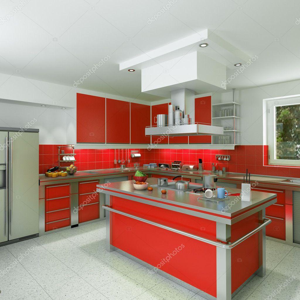 cucina moderna rossa — Foto Stock © franckito #2316073