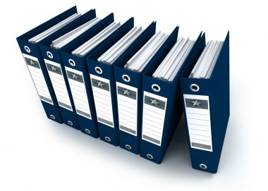 Blue ring binders in a row
