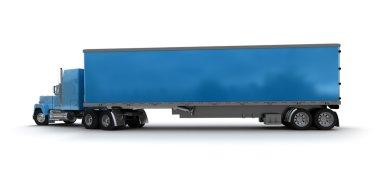 Blue trailer truck cargo container
