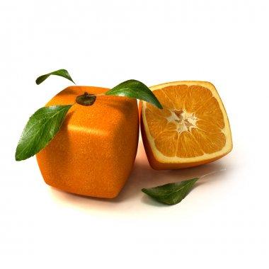 Fresh natural cubic orange
