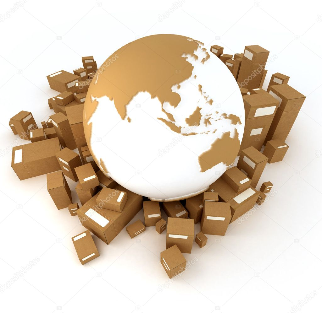 Earth surrounded by packages