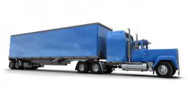Lateral view of a big blue trailer truck