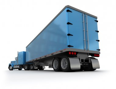 Rear view of a big blue trailer truck
