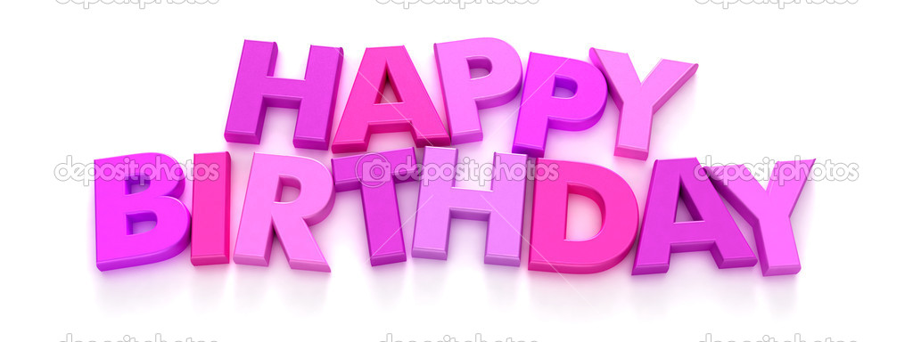 Happy Birthday In Pink Capital Letters Stock Photo