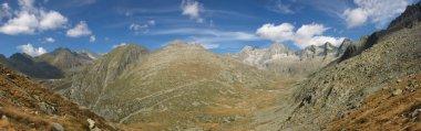 Very wide mountain panorama