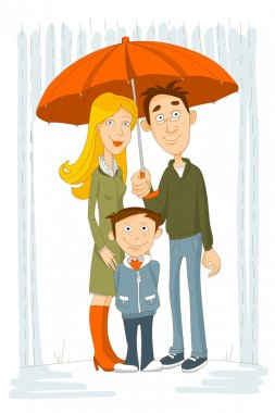 Happy family with umbrella under rain