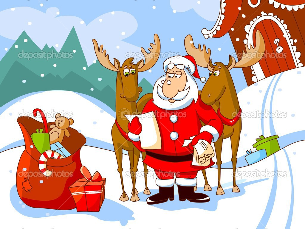 Santa Claus with deers reads a letter