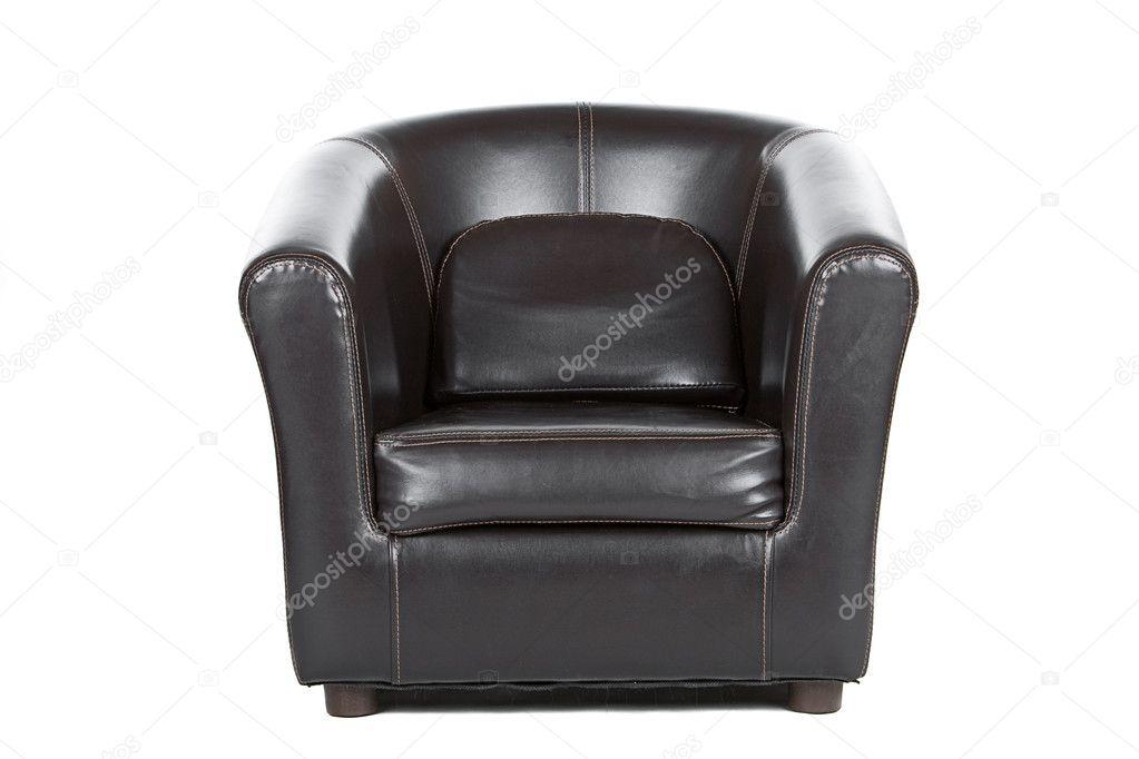 Bruin lederen fauteuil op wit u stockfoto jmpaget