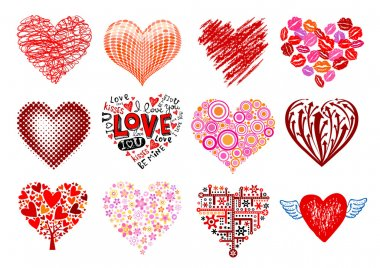Set of 12 vector hearts.