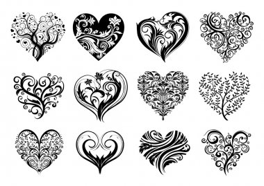 Set of 12 tattoo hearts, vector image. stock vector