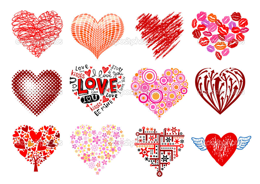 Set of 12 vector hearts, different styles. stock vector