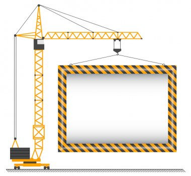 The crane lifting cargo on a whit stock vector