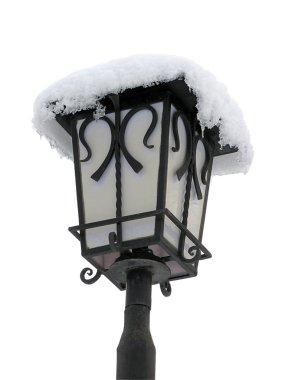 Lantern with snow