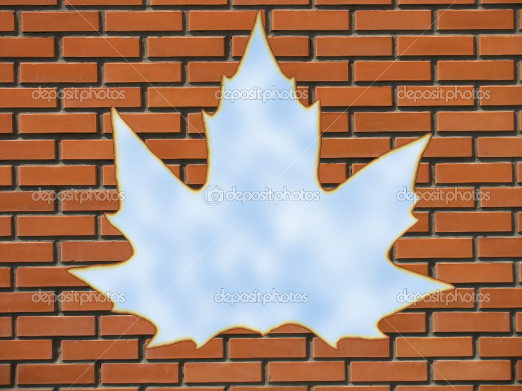 Maple Leaf Window Stock Photo Romantiche 2277158 Brick In A Wall By