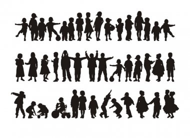 Silhouettes of happy children