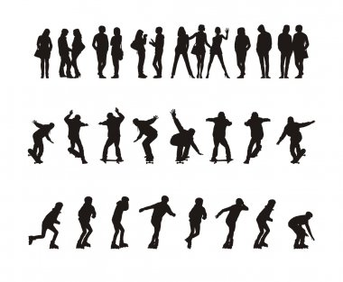 Composition with thirty silhouettes of teenagers. Fourteen silhouettes stand. Sixteen silhouettes go for a drive on skateboards and the roller fads. stock vector