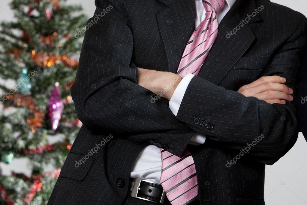 Business man while winter holidays