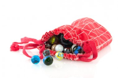 Red bag with marbles