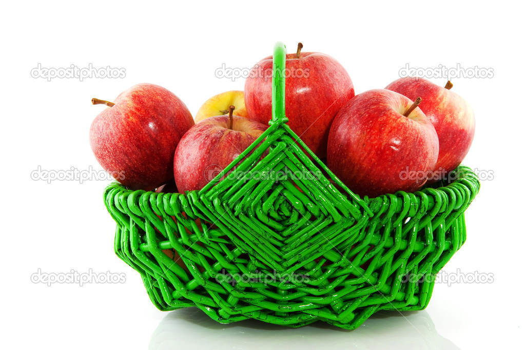 green and red apples in basket. red apples in green basket \u2014 stock photo #2442822 and r