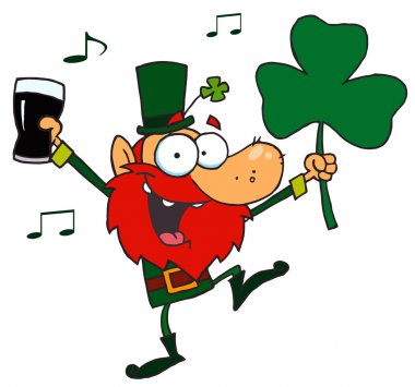 Lucky Leprechaun Dancing with a Glass