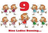 číslo devět a text nad devět dámy tance