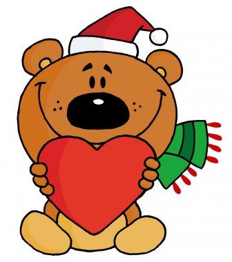 Sweet Christmas Teddy Bear Holding