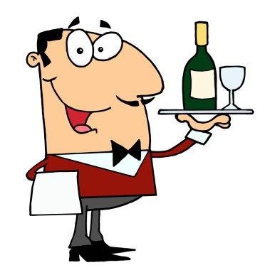 Male Waiter stock vector