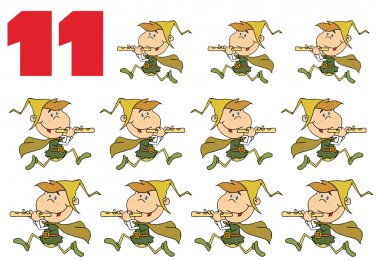 Number 11 By Eleven Pipers Piping