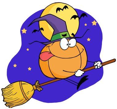 Cartoon character pumkin riding a broom