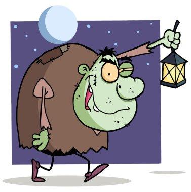 Character halloween igor with lantern