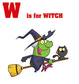 Fotografie Funny Cartoons Alphabet with Text-W
