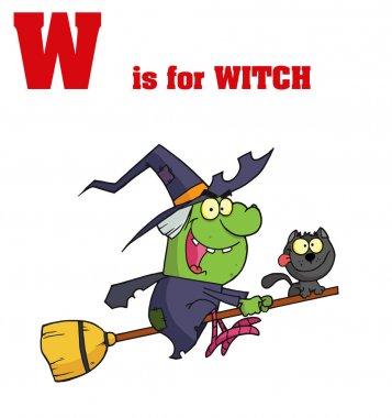 Funny Cartoons Alphabet with Text-W