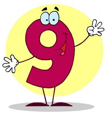 Funny Cartoon Numbers-9, background