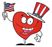 Photo Happy Red Heart In A Patriotic Hat