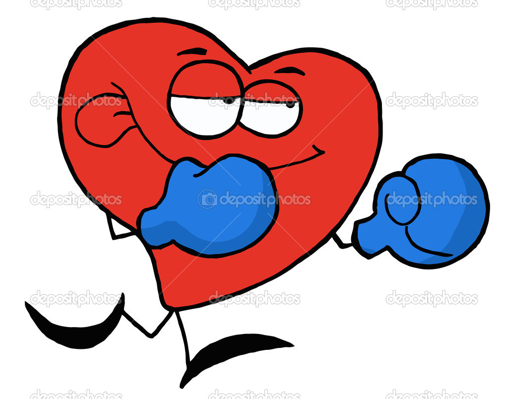 Boxing Red Heart Wearing Blue Gloves